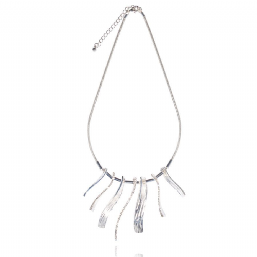 Diamante and Silver Splayed Design Short Necklace